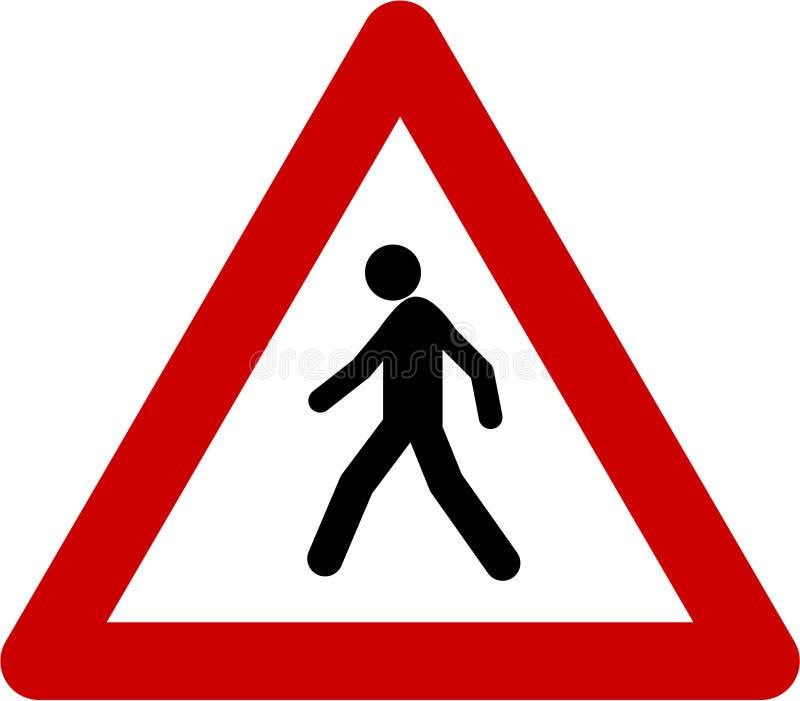 Sinal de aviso com pedestre ilustração stock