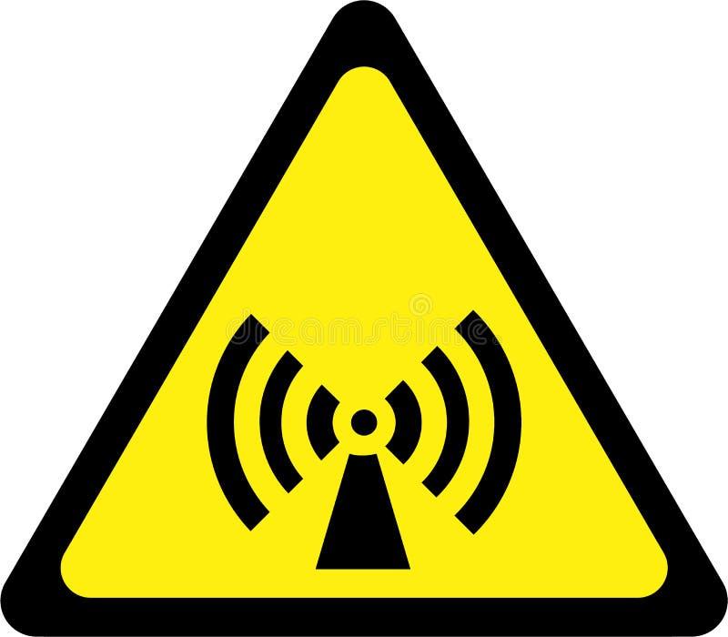 Sinal de aviso com radiação deionização ilustração stock