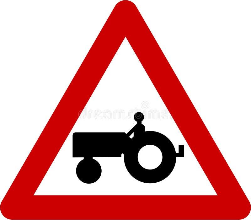 Sinal de aviso com trator de exploração agrícola ilustração royalty free