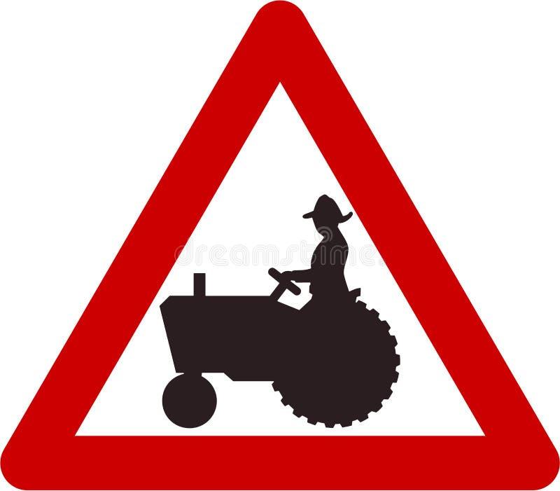 Sinal de aviso com trator de exploração agrícola ilustração do vetor