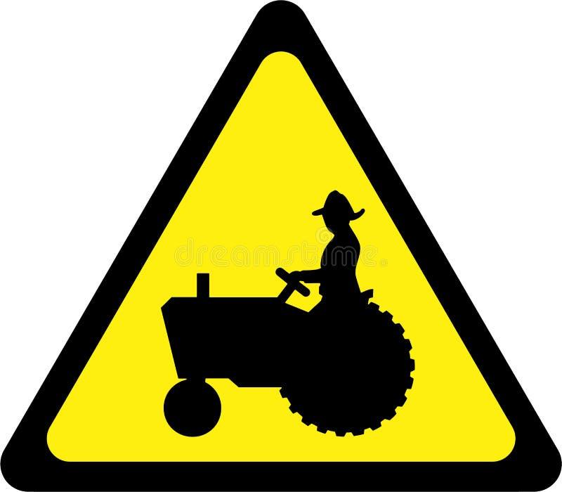Sinal de aviso com trator de exploração agrícola ilustração stock