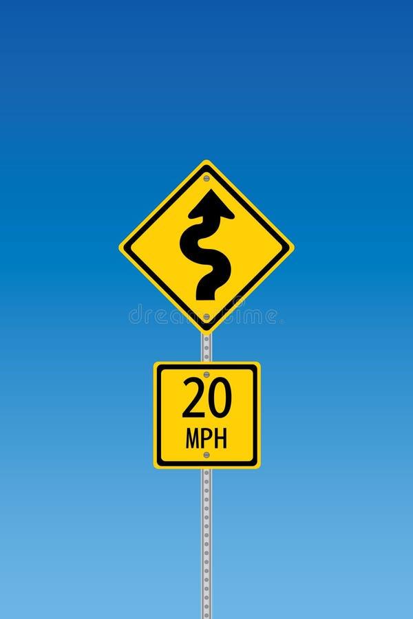 Sinal de aviso Curvy da estrada ilustração royalty free