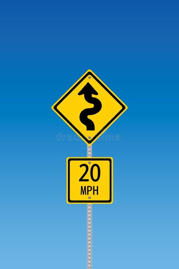 Sinal de aviso Curvy da estrada ilustração do vetor