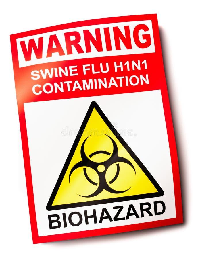 Sinal de aviso da gripe dos suínos ilustração stock