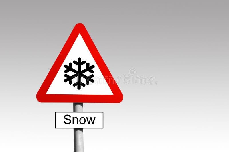 Sinal de aviso da neve imagens de stock royalty free