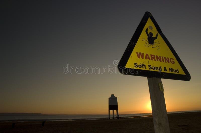 Sinal de aviso da praia fotos de stock