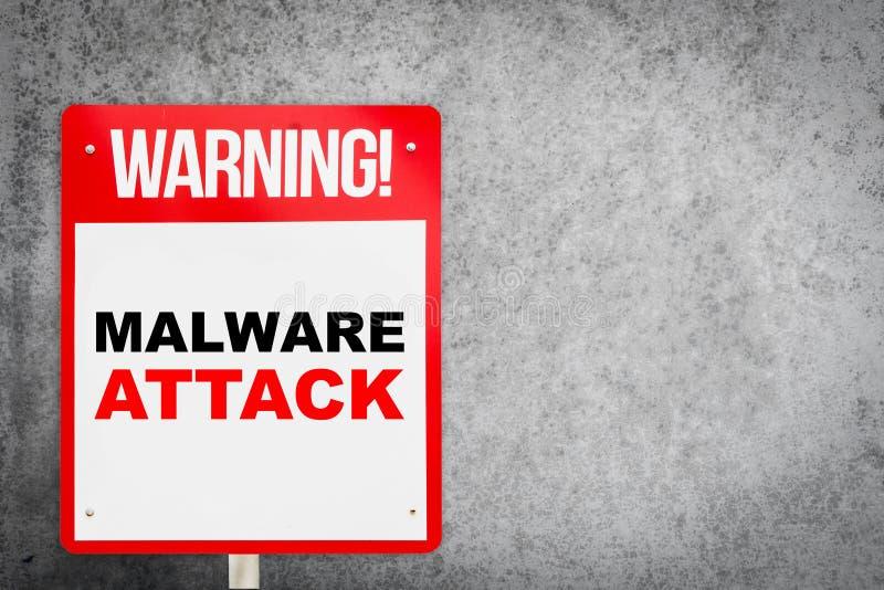 Sinal de aviso da rua no ataque de Malware ilustração stock