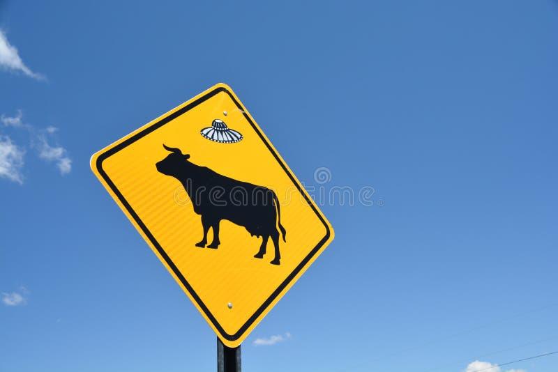 Sinal de aviso da vaca com etiqueta do UFO imagens de stock royalty free