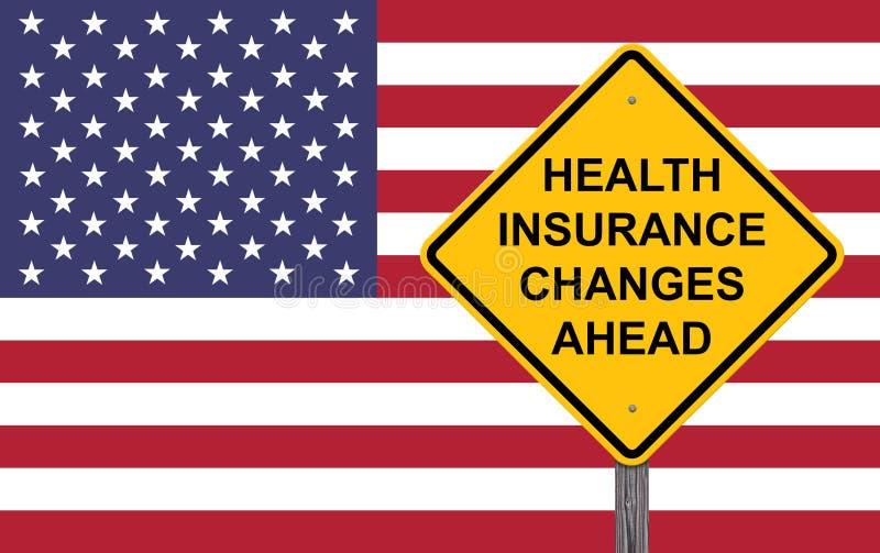 Sinal de aviso das mudanças do seguro de saúde adiante ilustração do vetor