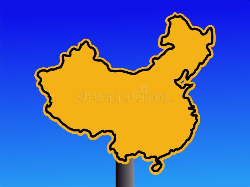 Sinal de aviso de China ilustração stock
