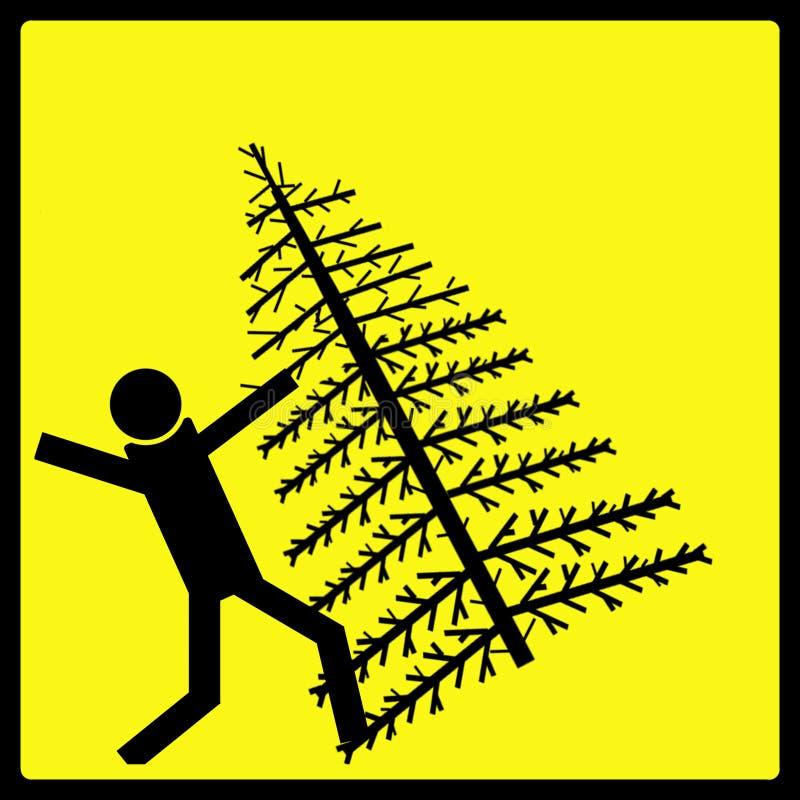 Sinal de aviso de queda da árvore de Natal ilustração stock