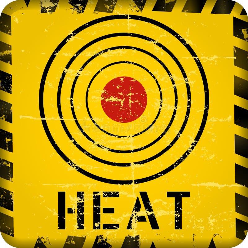Sinal de aviso do calor, ilustração suja do vetor do estilo ilustração stock