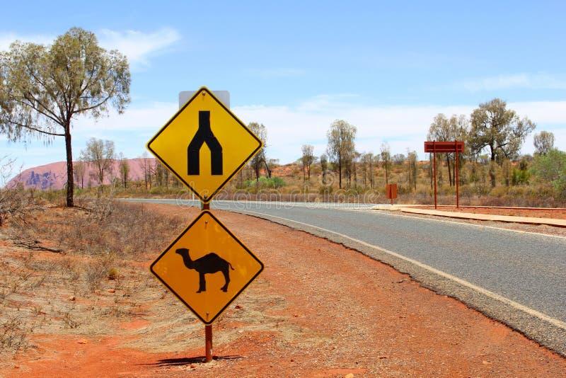 Sinal de aviso do camelo ao longo da estrada em Uluru Kata Tjuta National Park imagem de stock royalty free