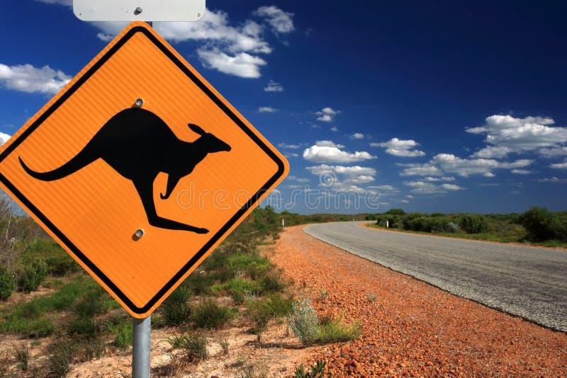 Sinal de aviso do canguru, Austrália ocidental fotografia de stock royalty free