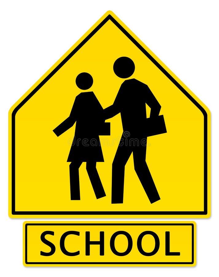Sinal de aviso do cruzamento de escola ilustração royalty free