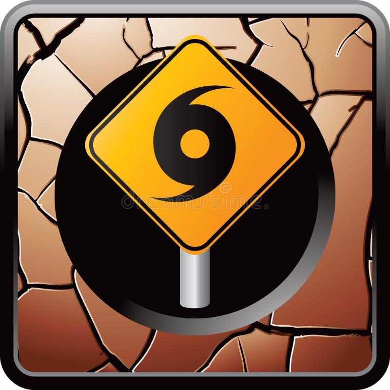 Sinal de aviso do furacão em ícone rachado do Web do bronze ilustração royalty free