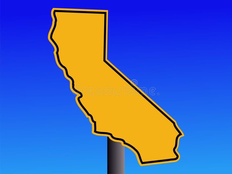 Sinal de aviso do mapa de Califórnia ilustração royalty free