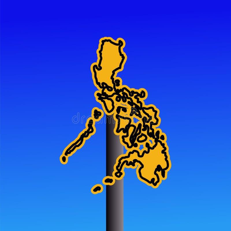 Sinal de aviso do mapa de Filipinas ilustração royalty free