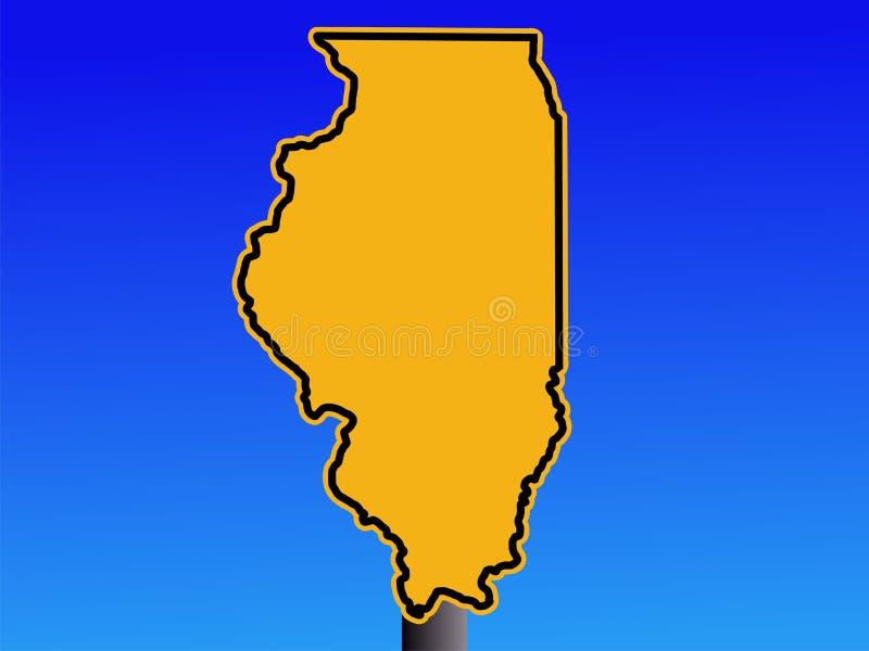 Sinal de aviso do mapa de Illinois ilustração do vetor