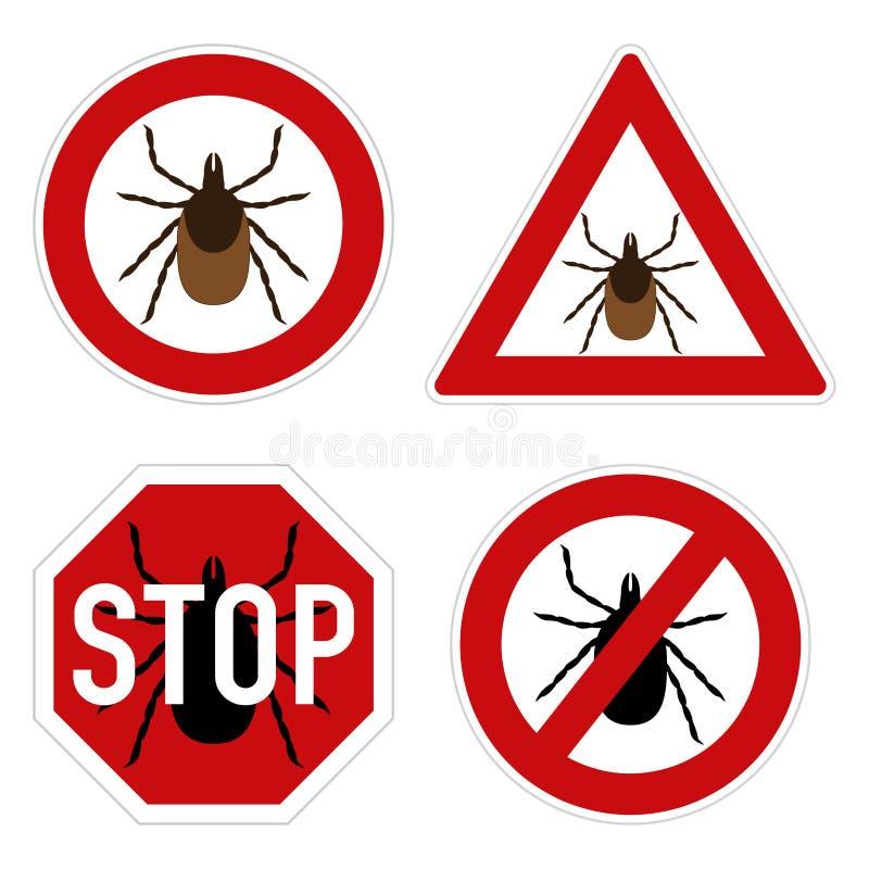 Sinal de aviso do parasita do tiquetaque ilustração do vetor