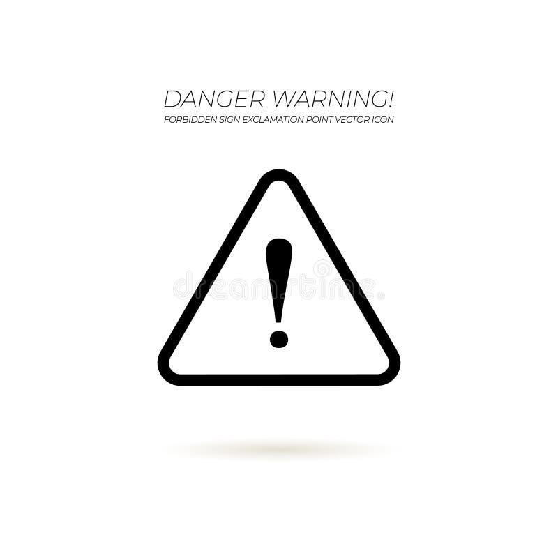 Sinal de aviso do perigo do cuidado do vetor, triângulo e ponto de exclamação, ícone preto e branco ilustração royalty free