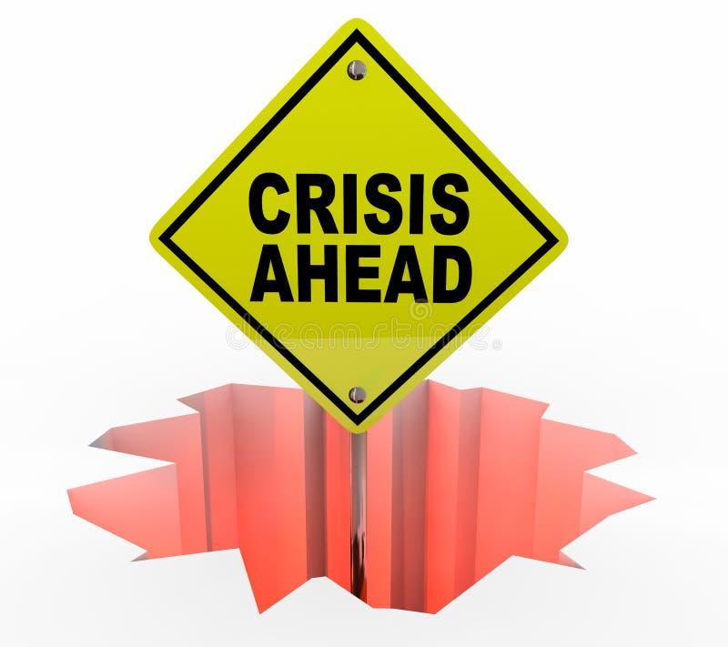Sinal de aviso do perigo da emergência do furo da crise adiante ilustração do vetor
