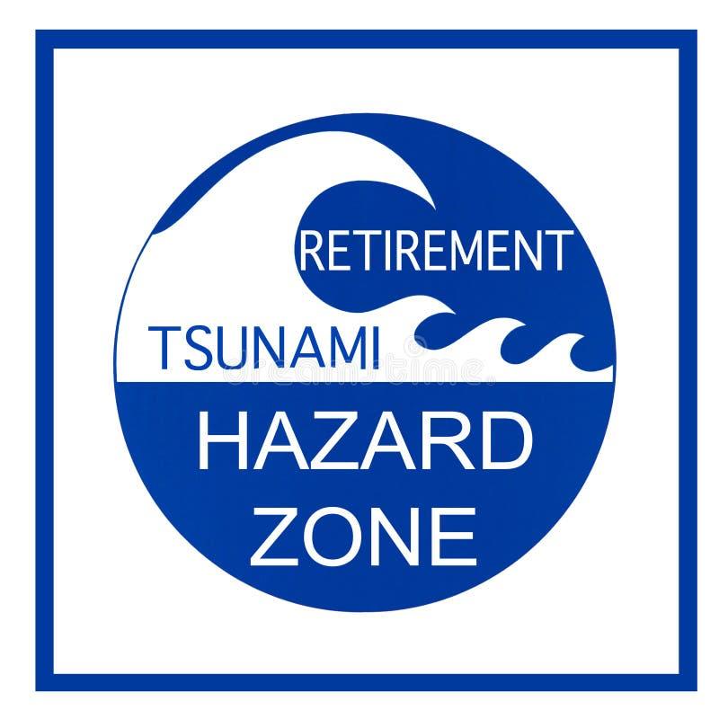 Sinal de aviso do perigo do tsunami da aposentadoria imagem de stock