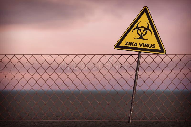 Sinal de aviso do vírus de Zika rendição 3d ilustração royalty free