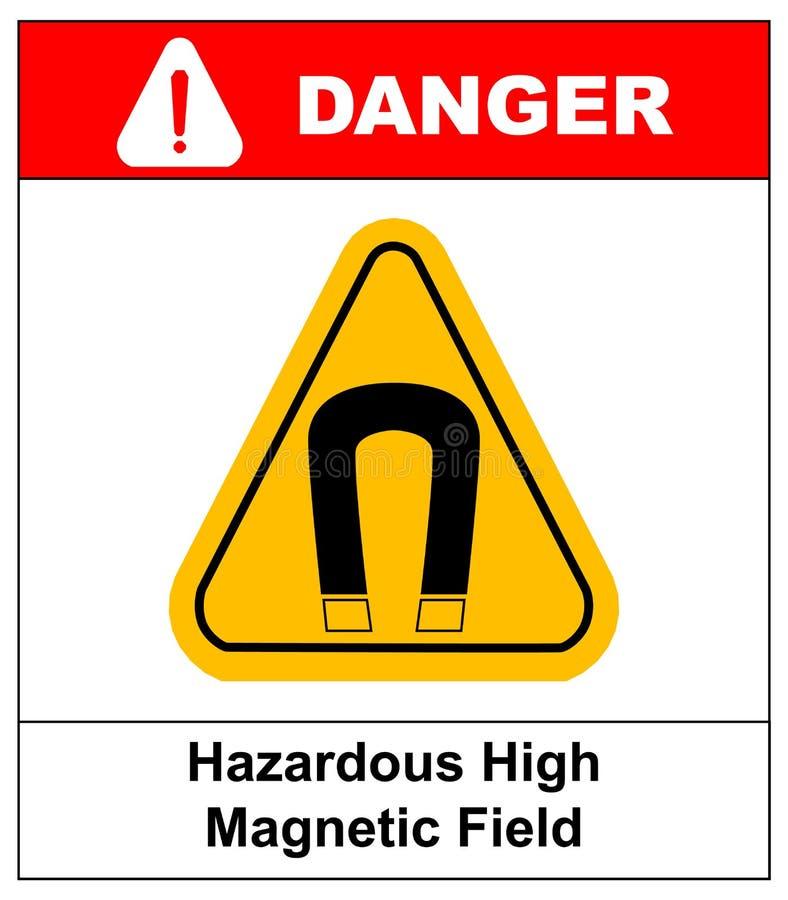 Sinal de aviso do vetor do campo magnético forte ilustração do vetor