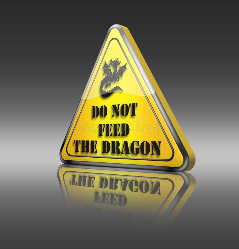 Sinal de aviso engraçado do dragão ilustração do vetor