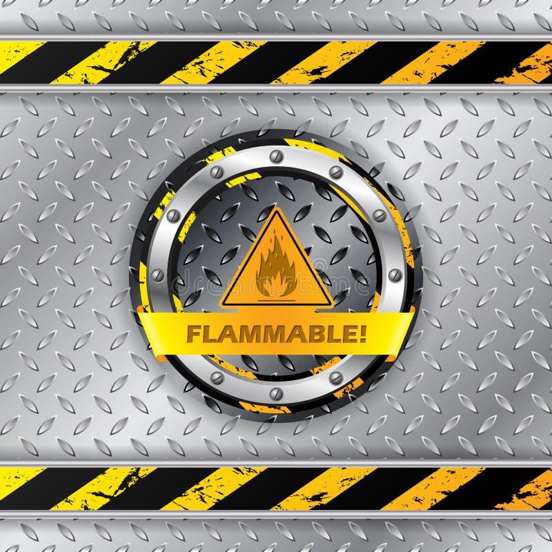 Sinal de aviso inflamável na placa metálica ilustração do vetor