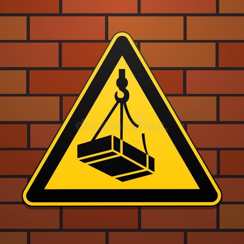 Sinal de aviso internacional da segurança Cargas de queda Beware of o sinal no fundo da parede de tijolo Imagem preta na ilustração stock