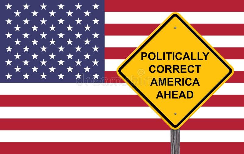 Sinal de aviso politicamente correto de América adiante ilustração do vetor