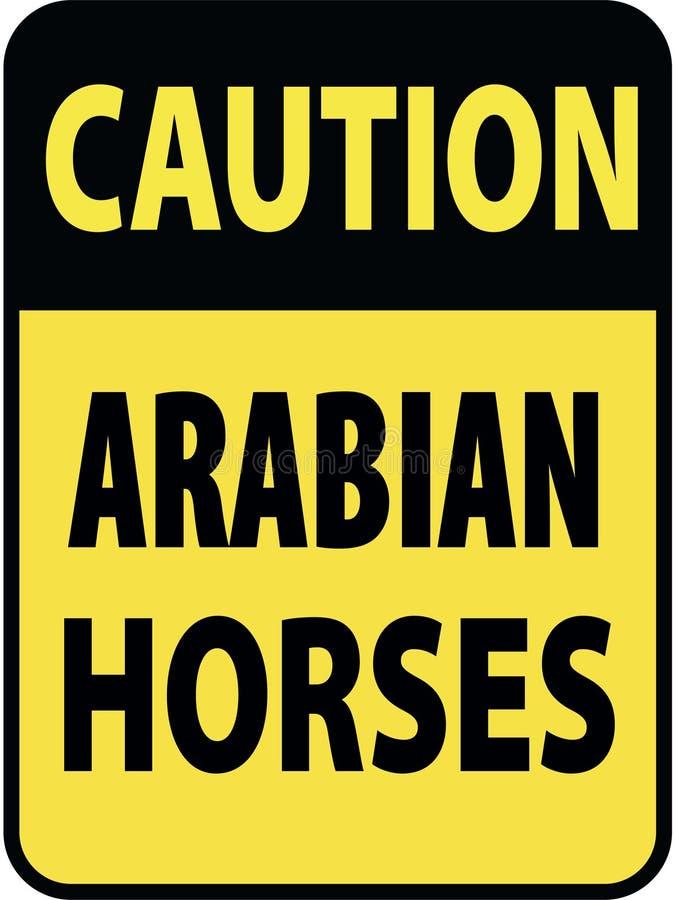 Sinal de aviso preto e amarelo retangular vertical da atenção, cavalos do arabian do cuidado da prevenção A bordo do reboque ilustração stock