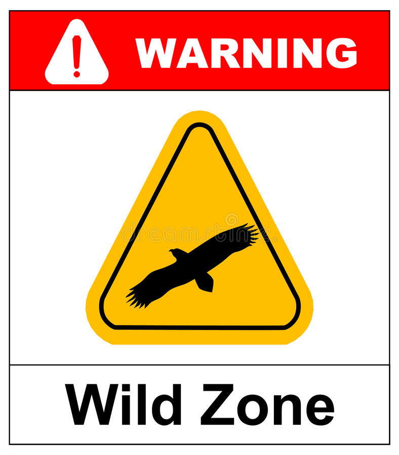 Sinal de aviso sinal de perigo com águia Símbolo do vetor ilustração stock