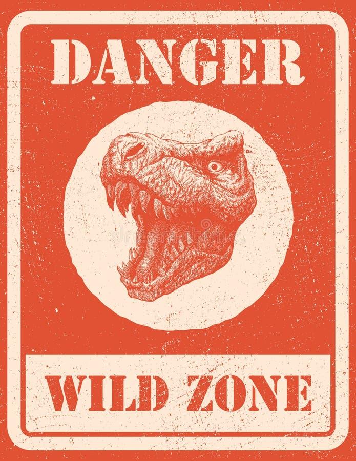 Sinal de aviso sinal de perigo com dinossauro EPS 8 ilustração stock