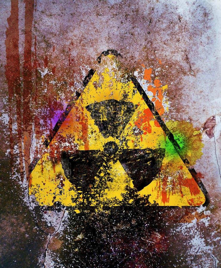 Sinal de aviso sujo da radiação nuclear ilustração royalty free