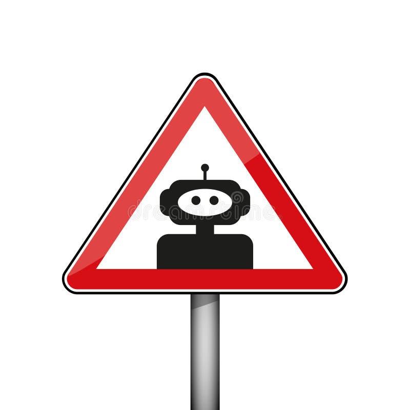Sinal de aviso triangular com robô ilustração stock