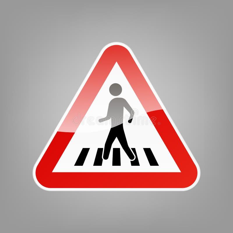 Sinal de aviso triangular para o cruzamento pedestre isolado no fundo Ilustração do vetor ilustração royalty free