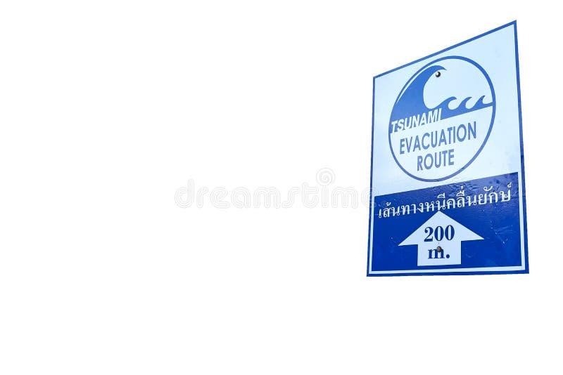 Sinal de aviso de um tsunami possível, isolado fotografia de stock