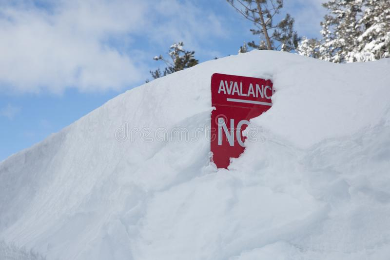 Sinal de aviso vermelho da avalancha enterrado na neve imagem de stock