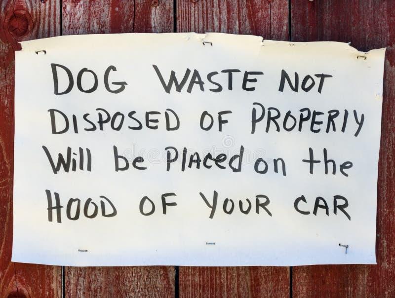 Sinal de aviso waste do cão imagem de stock