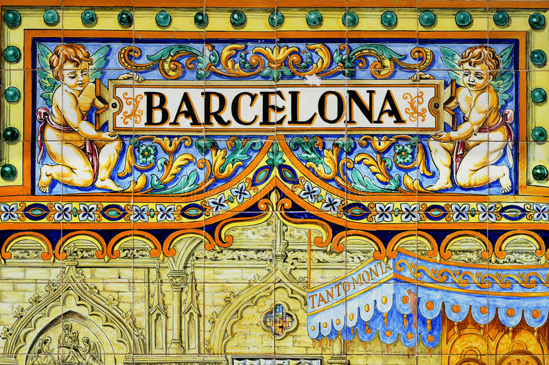 Sinal de Barcelona fotos de stock