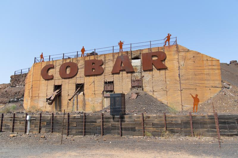 Sinal de Big Cobar na Cornish Rest Area Cobar New South Wales Austrália imagens de stock royalty free