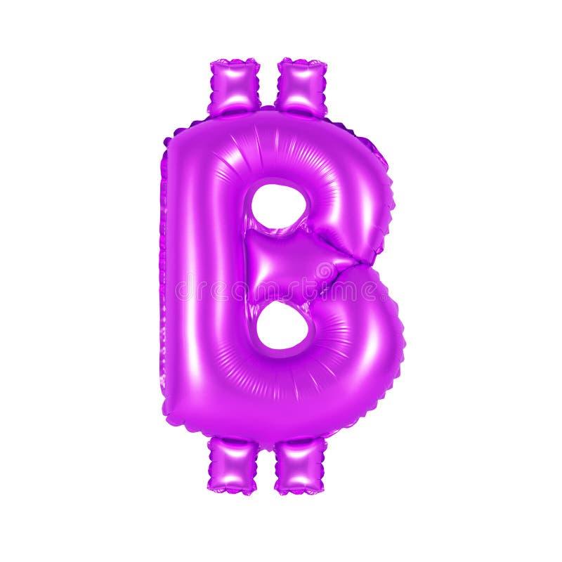 Sinal de Bitcoin, cor roxa fotografia de stock