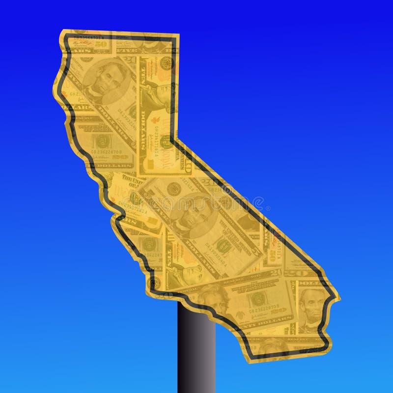Sinal de Califórnia com dinheiro ilustração do vetor