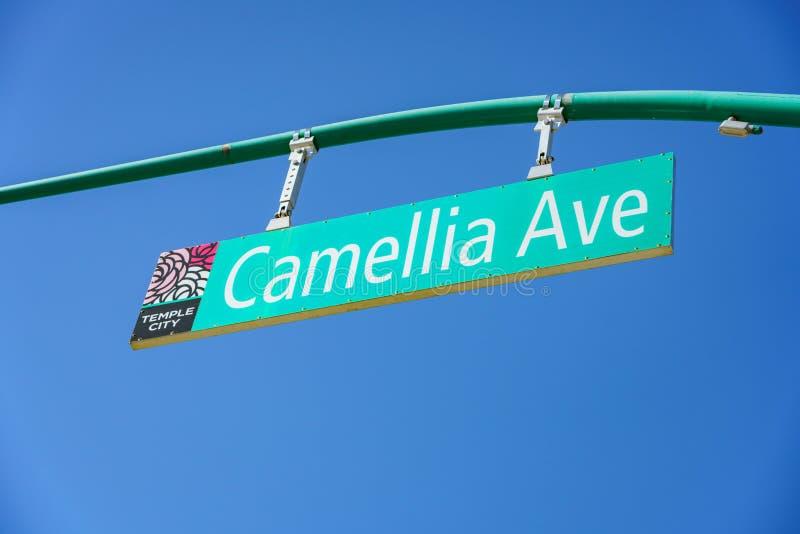 Sinal de Camellia Ave imagens de stock royalty free