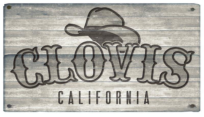 Sinal de Clovis California Western Town Style ilustração do vetor