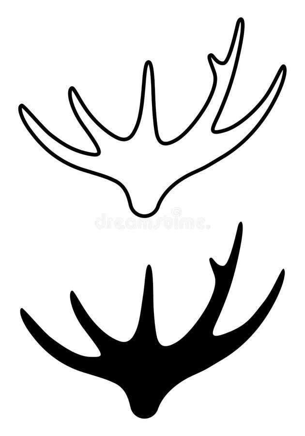 Sinal de corno alce. Linear e silhueta ilustração royalty free
