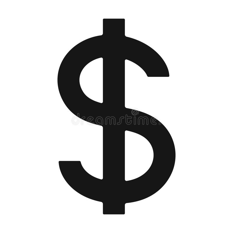 Sinal de dólar Único ícone do corretor de imóveis na Web preta da ilustração do estoque do símbolo do vetor do estilo ilustração royalty free